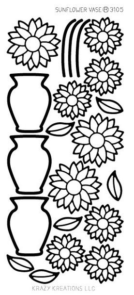 Sunflower Vase Outline Sticker