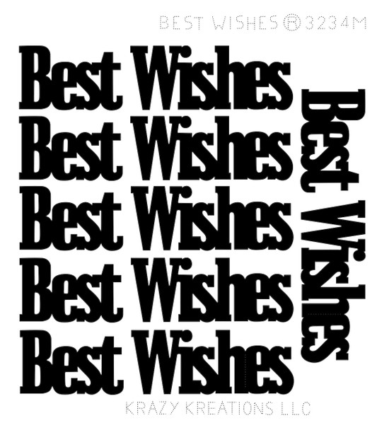 Best Wishes Outline Sticker - Mini