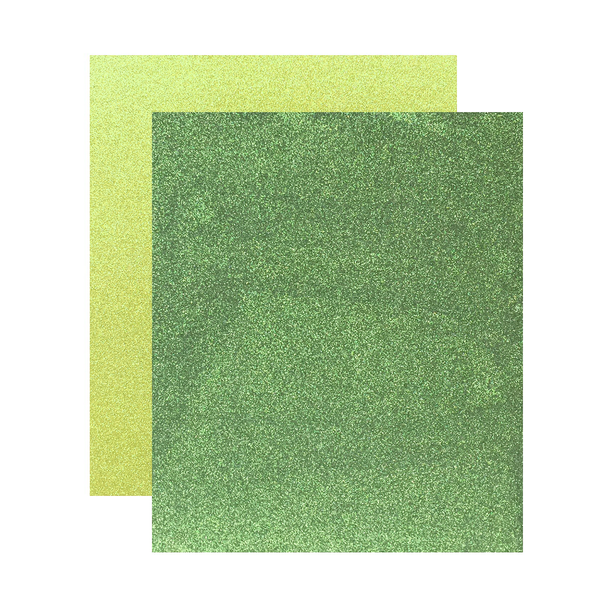 "Micro Fine Glitter Paper, Basil/Chartreuse  5"" x 6"", 2 Sheets"