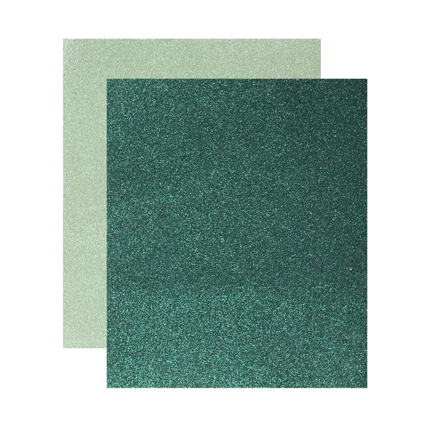 "Micro Fine Glitter Paper, Hunter/Sea Green  5"" x 6"", 2 Sheets"