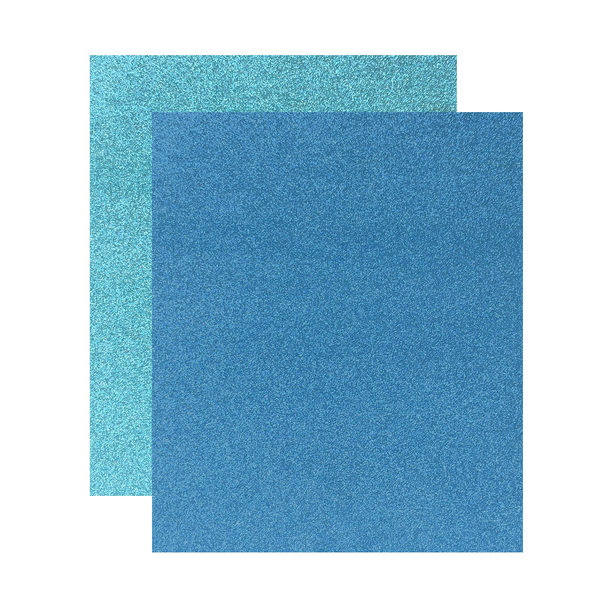 "Micro Fine Glitter Paper, Blue Teal/Ice Blue  5"" x 6"", 2 Sheets"