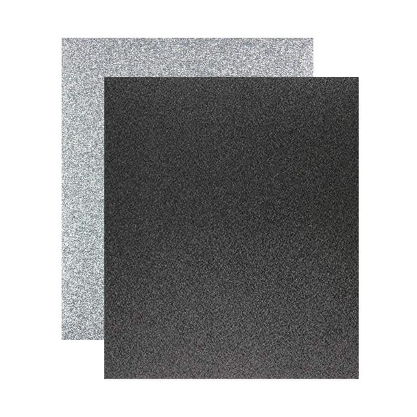 """Micro Fine Glitter Paper, Black/Silver  5"""" x 6"""", 2 Sheets"""