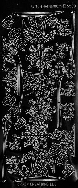 Witch Broom & Hat Outline Sticker