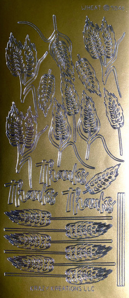 Wheat Outline Sticker - Gold