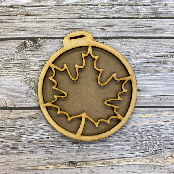 Circle with Maple Leaf Tag Wood Frames, 2 Sets