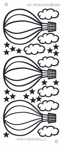 Hot Air Balloon Outline Sticker