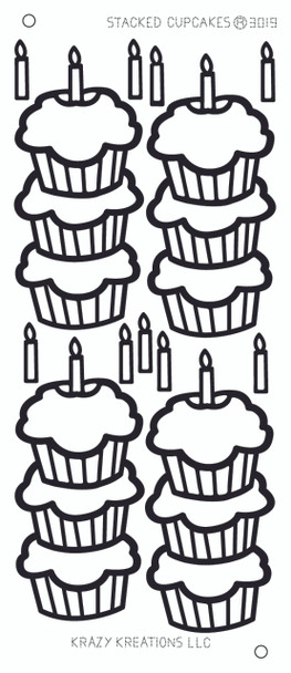 Stacked Cupcakes Outline Sticker