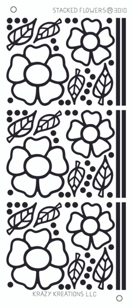 Stacked Flowers Outline Sticker