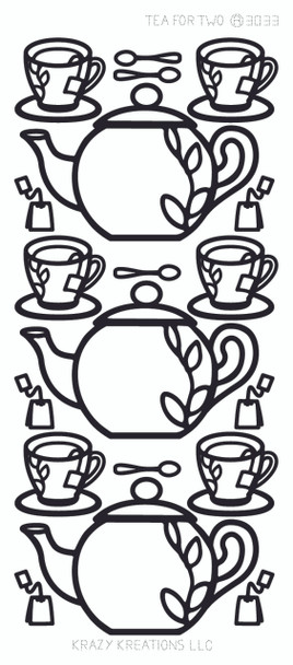 Tea for Two Outline Sticker