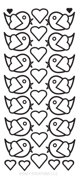 Cute Birds Outline Sticker