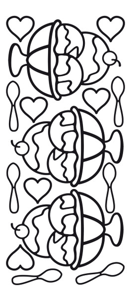 Ice Cream Sundae Outline Sticker