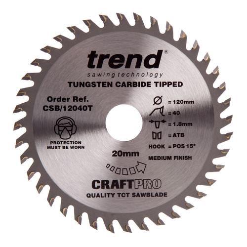 Trend CSB/12040T CraftPro Saw Blade for Wood 120 x 20mm x 40T