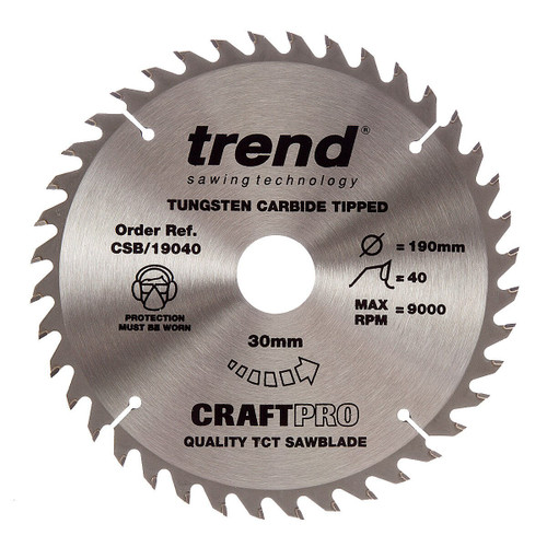 Trend CSB/19040 CraftPro Saw Blade for Wood 190 x 30mm x 40T