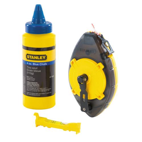 Stanley 0-47-465 PowerWinder Chalk Line, Level & Blue Builders Chalk