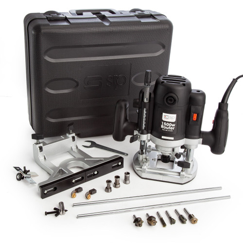 SIP 01478 1500W Plunge Router with 6 Bits, 3 Collets and Carry Case 240V