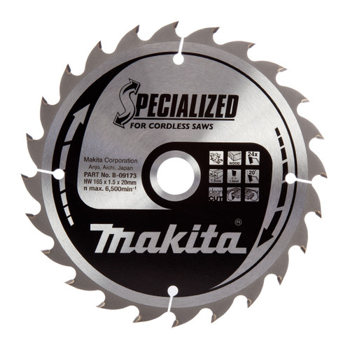 Makita B-09173 Specialized Circular Saw Blade for Cordless Saws 165 x 20mm x 24T