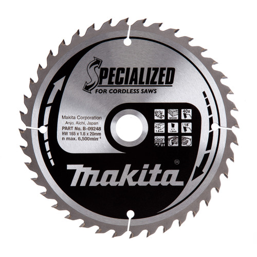 Makita B-09248 Specialized Circular Saw Blade for Cordless Saws 165 x 20mm x 40T