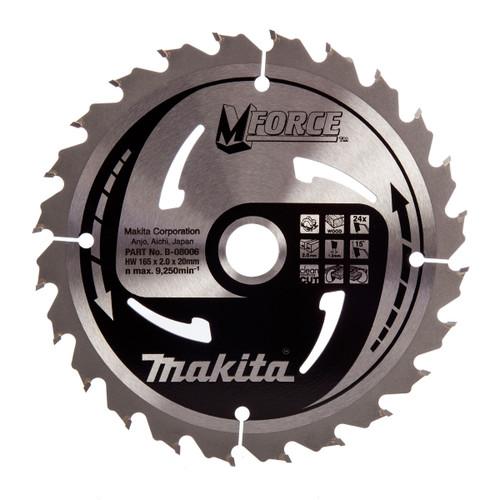 Makita B-08006 M Force Circular Saw Blade for Wood 165 x 20mm x 24T