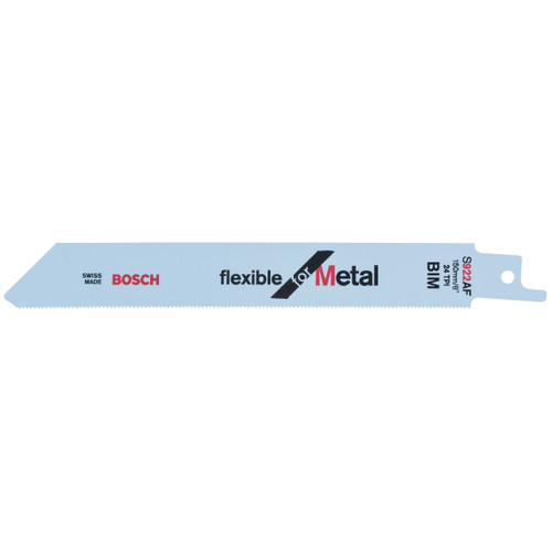 Bosch S922AF (2608656013) Thin Metal Cutting 0.7 - 3mm Reciprocating Saw Blade 150mm (Pack Of 5)