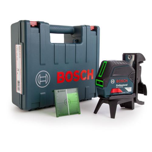 Bosch GCL 2-15 G Green Cross Line Laser, RM 1 Wall Mount & Carry Case