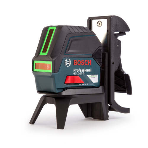 Bosch GCL 2-15 G Green Self Levelling Cross Line Laser with RM 1 Wall Mount & Carry Case