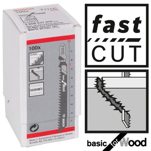 Bosch T111C Basic for Wood Jigsaw Blades (100 Pack)