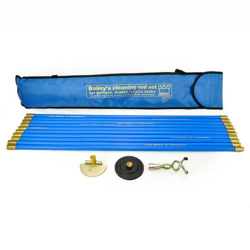 Bailey 5431 3/4 Inch x 30 Feet Universal Drain Rod Set (3) In Carry Bag