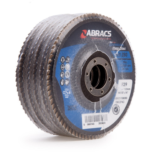 Abracs ABFZ115B080 Pro Zirconium Flap Disc 115mm x 22.23mm  80 Grit (Pack Of 5)
