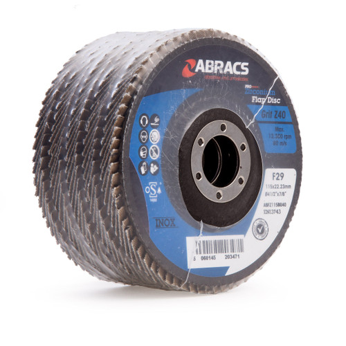 Abracs ABFZ115B040 Pro Zirconium Flap Disc 115mm x 22.23mm 40 Grit (Pack Of 5)