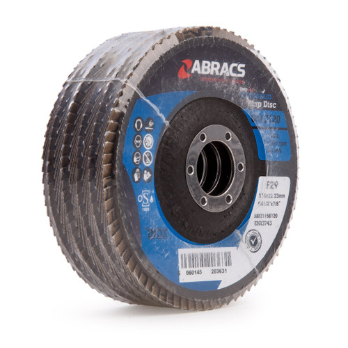Abracs ABFZ115B0120 Pro Zirconium Flap Disc 115mm x 22.23mm 120 Grit (Pack Of 5)