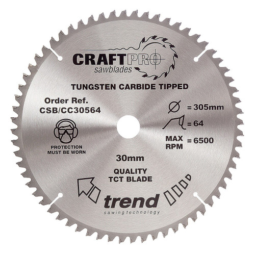 Trend CSB/CC30564 CraftPro Saw Blade for Mitre & Table Saws 305 x 30mm x 64T