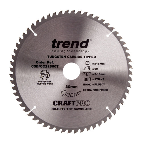 Trend CSB/CC21660T CraftPro Saw Blade for Wood 216 x 30mm x 60T