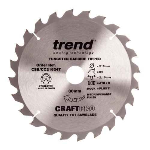Trend CSB/CC21624T CraftPro Saw Blade for Wood 216 x 30mm x 24T