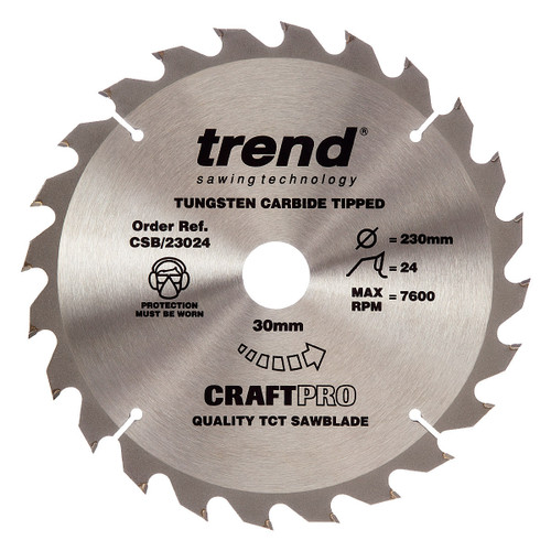 Trend CSB/23024 CraftPro Saw Blade for Wood 230 x 30mm x 24T