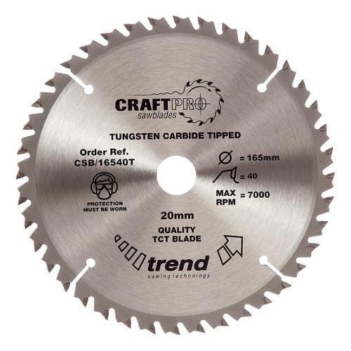 Trend CSB/16540T CraftPro Saw Blade 165mm x 20mm x 40T