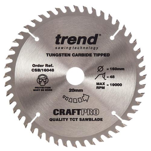 Trend CSB/16048 CraftPro Saw Blade for Wood 160 x 20mm x 48T