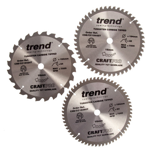 Trend TCT Circular Saw Blade Triple Pack for Wood 184 x 16mm x 24T, 48T & 60T