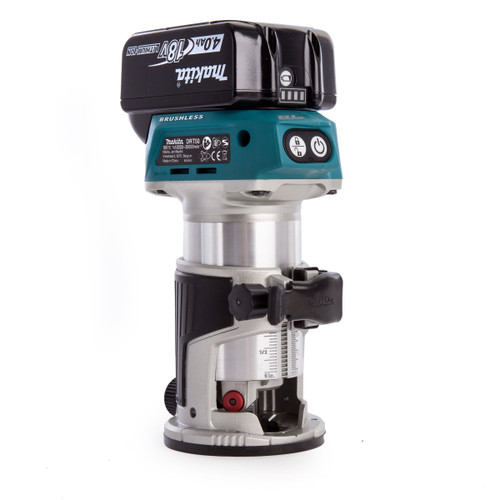 Makita DRT50RMJX2 18V Cordless Router / Trimmer with 3 Bases and 2 Guides (2 x 4.0Ah Batteries)