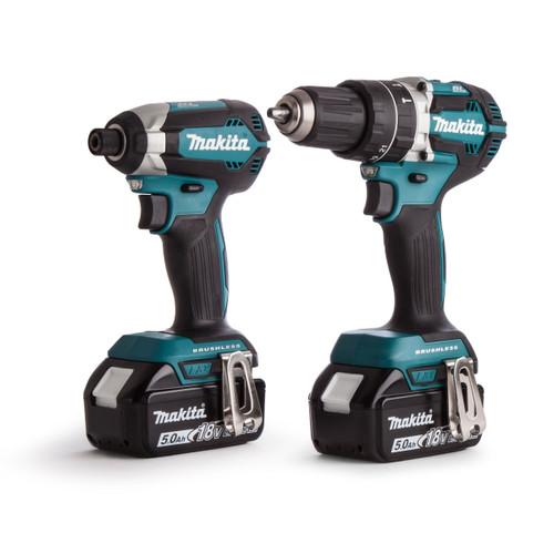 Makita DLX2180TJ 18V Brushless Twin Pack - DHP484 Combi Drill + DTD153 Impact Driver (2 x 5.0Ah Batteries)