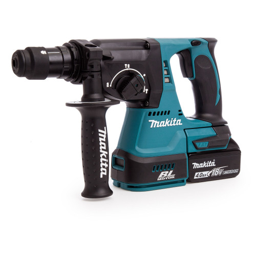 Makita DHR243RMJ 18V Brushless 3-Mode SDS Plus Rotary Hammer Drill 24mm with Quick Change Chuck (2 x 4.0Ah Batteries)