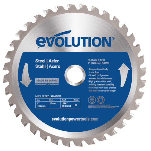 Evolution EVOBLADEST TCT Saw Circular Saw Blade for Mild Steel 180 x 20mm x 36T