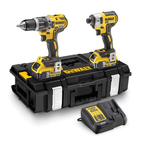 Dewalt DCK266P2 18V XR Combi Drill & Impact Driver Twin Pack (2 x 5.0Ah Batteries) in Toughsystem