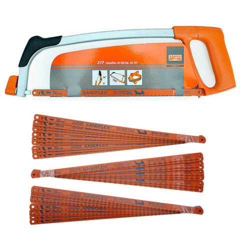 """Bahco 317 Hacksaw Frame 300mm (12"""") with 31 Assorted Blades"""