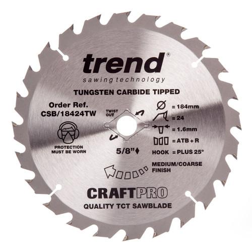 Trend CSB/18424TW CraftPro Saw Blade for Wood 184 x 15.88mm x 24T