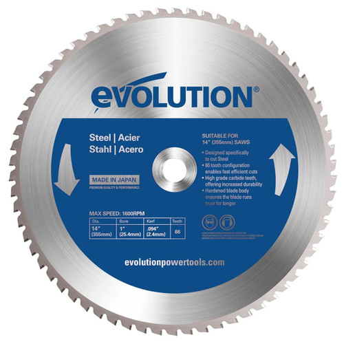 Evolution TCT Saw Blade for Steel 355mm x 25.4mm x 66T