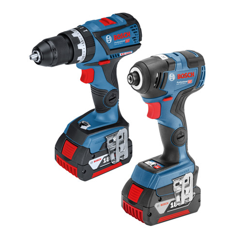 Bosch 06019G4172 18V Dynamic Series Brushless Twin Pack - GSB 18V-60 C Combi Drill + GDR 18V-200 C Impact Driver (2 x 5.0Ah Batteries)