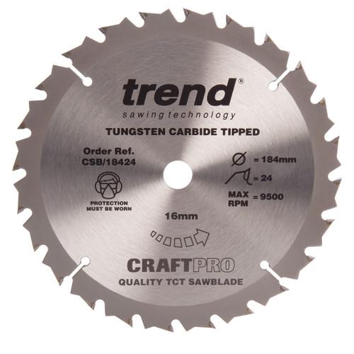 Trend CSB/18424 CraftPro Saw Blade for Wood 184 x 16mm x 24T