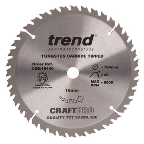 Trend CSB/18440 CraftPro Saw Blade for Wood 184 x 16mm x 40T