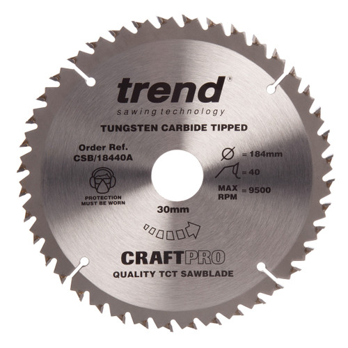 Trend CSB/18440A CraftPro Saw Blade for Wood 184 x 30mm x 40T