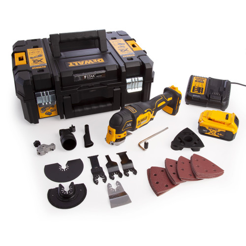 Dewalt DCS355P1 18V XR Multi Tool, Accessories & TStak Case (1 x 5.0Ah Battery)